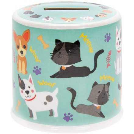 9 cm Little Stars Ceramic Cats & Dogs Money Box
