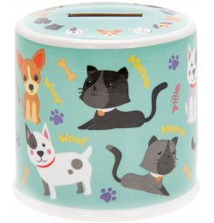 Dogs & Cats theme ceramic money box