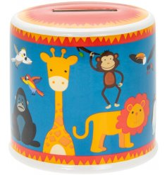 Save pennies in this really wild Zoo Animals theme money box