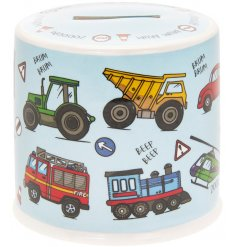 Ideal gift for younger children, a ceramic money box with cool vehicle-themed design