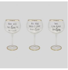 Quirky Balloon Gin Glass with gold trim and 3 slogan options