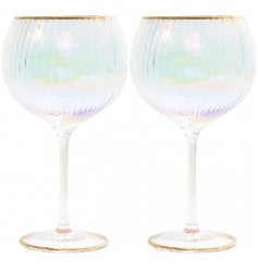 Opalescent Gin Balloon Glass with ribbed texture and luxury gold embellishment to rim and base