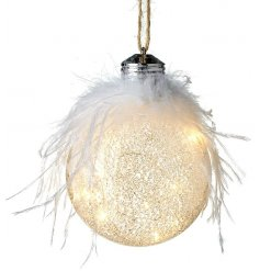 Glass Bauble with iridescent surface and LED illuminations, with feather adornment