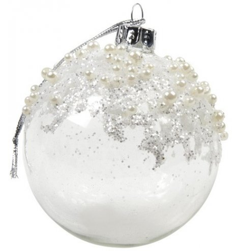 A stunning glass bauble adorned with shimmering pearls and silver sequins which cascade down the edge.