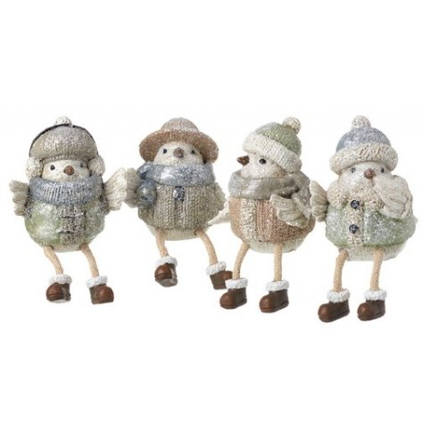 An assortment of 4 charming bird shelf sitters. Each is adorned in a winter hat with scarf.