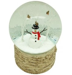 Set upon a woodland bark inspired base, this snowglobe features a happy little snowman in the centre