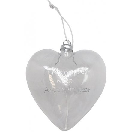 Feathers Appear Glass Heart Bauble