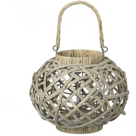 Cream Basket Round Lantern