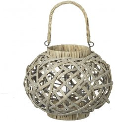 Cream coloured round basket lantern for use with traditional candle or LED flameless candles
