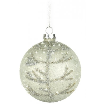 Glass Christmas Tree Bauble with Tree Design 8cm