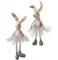 Contemporary Easter Bunny dressed in tutu, t shirt and pearls. Standing or Sitting
