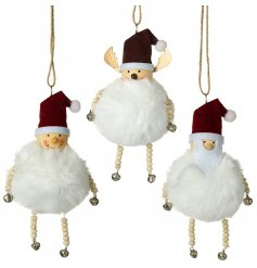 Mix of 3 festive fluffy snowball ornaments with bead and bell embellishments