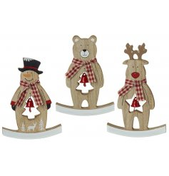 Seasonal wooden decorations on rocking base with jingle bell. Choose from snowman, reindeer or teddy bear.