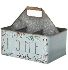 Vintage design metal bottle carrier with painted floral 'Home' embellishments.
