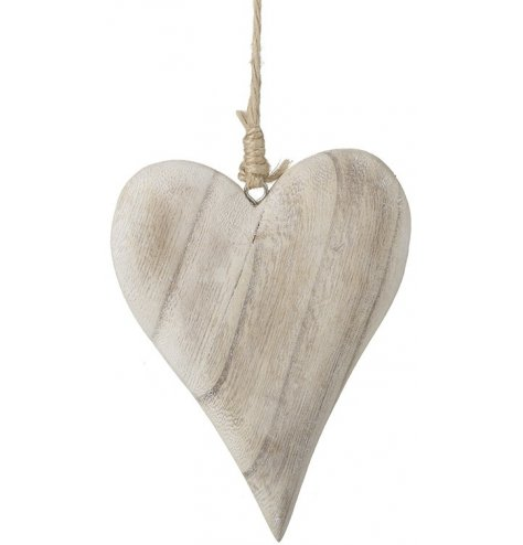 A natural wooden heart decoration with a smooth finish and rustic jute string hanger.