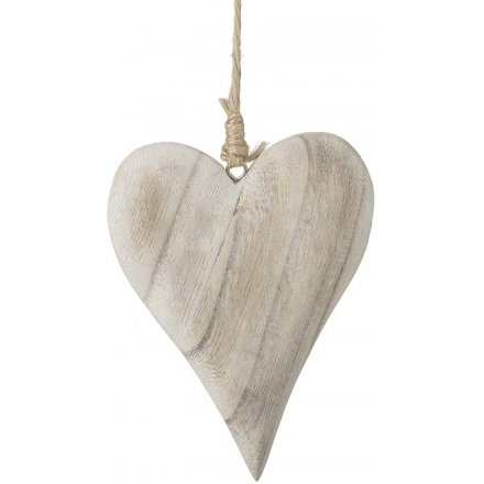 Simple Wooden Hanging Heart Decoration 22.5 cm