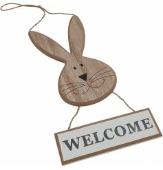 A natural wooden Welcome Plaque with a chirpy bunny decal
