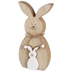 Wooden Ornament of large rabbit with inset small white rabbit