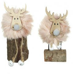 Rested on rustic logs, these pink pompom bodied moose decorations also feature little jingling bells