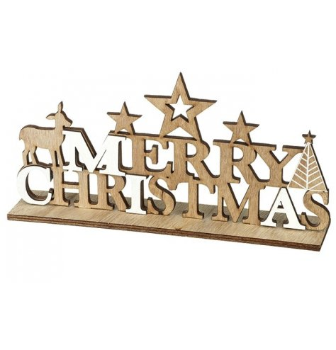 A simple and elegant table top Merry Christmas sign featuring stars, a tree and reindeer.