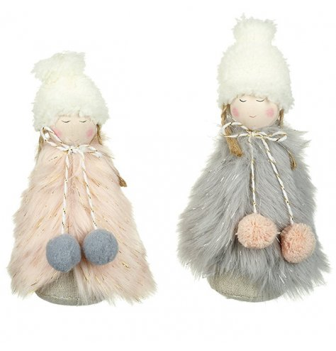 An assortment of 2 adorable nordic angels with gold tipped faux fur coats and winter hats.