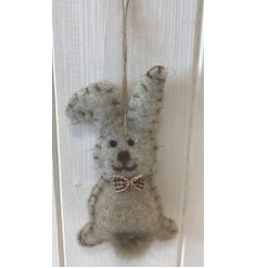 this grey woollen rabbit decoration will be sure to place perfectly in any home at Easter