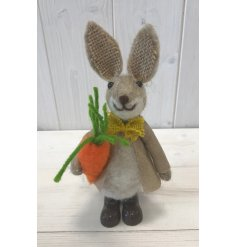 An adorable little woollen rabbit decoration with added hessian ears and a yellow bow tie