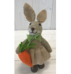 A cute little woollen bunny decoration complete with hessian ears and a little green bowtie