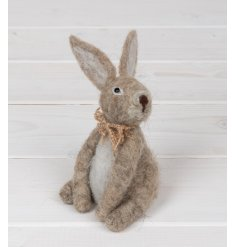 A sweet little woollen bunny with a hessian bowtie