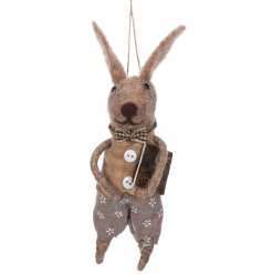 A cute little hanging woollen bunny decoration dressed up in a cute button up shirt and printed shorts