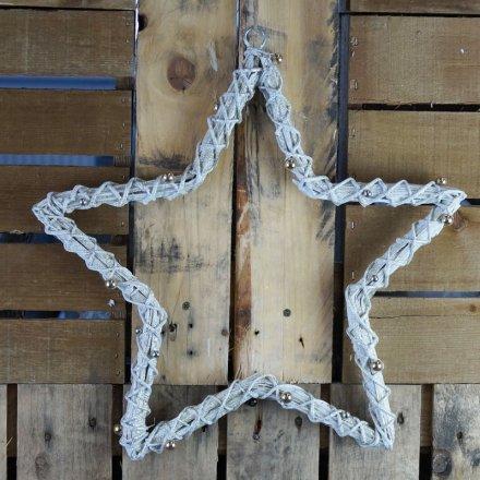 Medium Grey Glitter Woven Willow Star