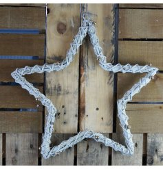 A beautifully simple grey woven willow star decoration complete with a subtle sprinkle of glitter and dotted jingling b