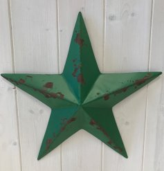 A rustic metal barn star in a rich green colour. Complete with a highly distressed finish.