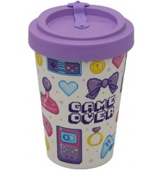 Retro style travel mug with Game Over motif in shades of pink and purple