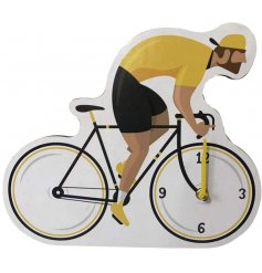 Cartoon cyclist wall clock from the cycle works range