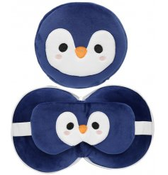 Perfect for long journeys, this penguin themed travel set combines a supportive pillow with a soft eye mask