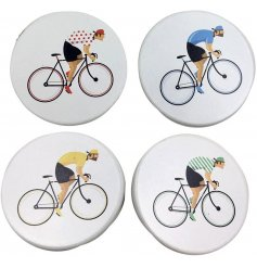 Pack of 4 white coasters decorated with image of cyclists