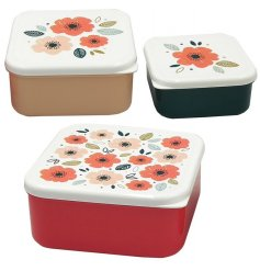 3 nesting lunchboxes, from the poppy fields range, solid colour bases with decorated lids