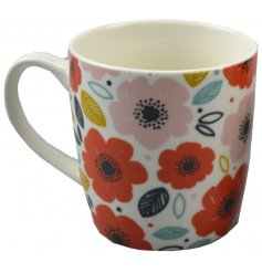 Bone china mug embellished with poppy fields design