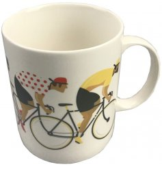 Bone China mug from cycle works range decorated with image of bicycle race
