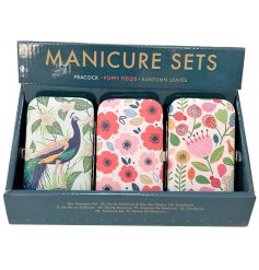 CDU offering 3 different manicure sets - from the Peacock, Poppy Fields & Autumn Leaves giftware ranges