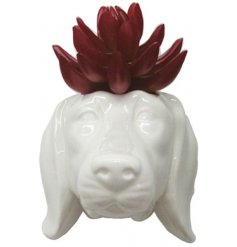 Modern white ceramic dachshund dog head shaped wall planter, suitable for outdoor use