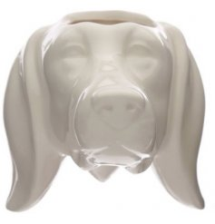 Contemporary white ceramic dachshund head garden wall planter
