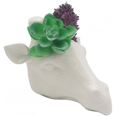 Contemporary white ceramic garden wall planter in the shape of a giraffe head