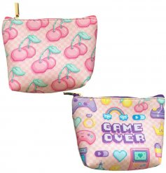 Pink themed game over print zip close coin purse