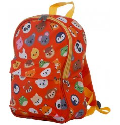 Child size backpack printed with cartoon animal faces from the Cutiemals range