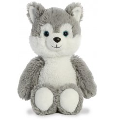An adorably plush and huggable Husky soft toy complete with wide gazing blue eyes