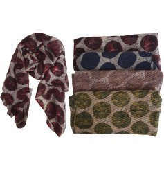 Spot pattern crinkle texture scarf available in either red, blue or black spots.