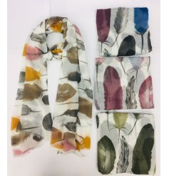 Attractive feather print silky scarf available in 4 colour palettes