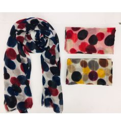 Fashionable scarf with vivid dot pattern, highlighted with subtle strips of sequins